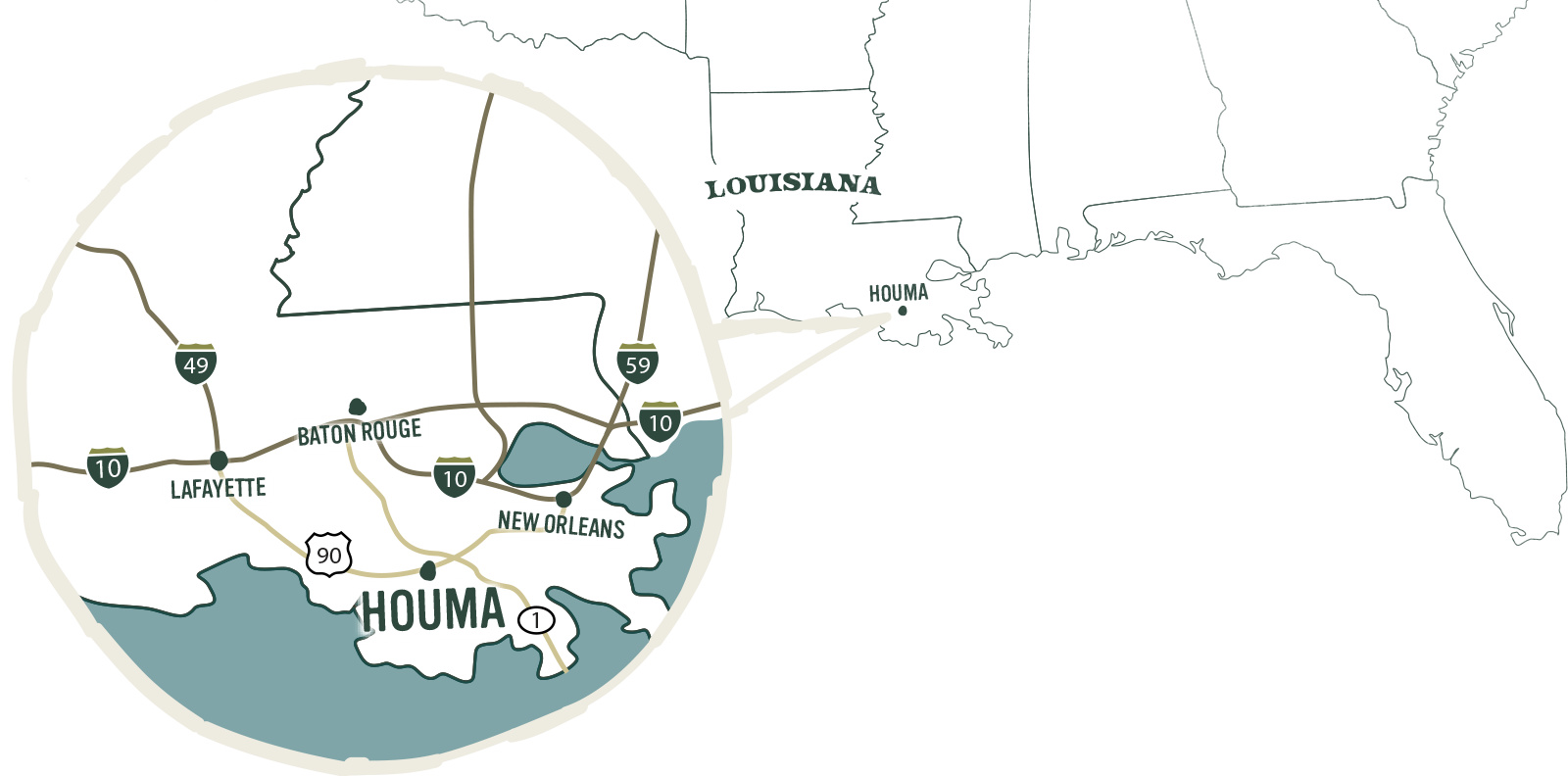 Houma location on map